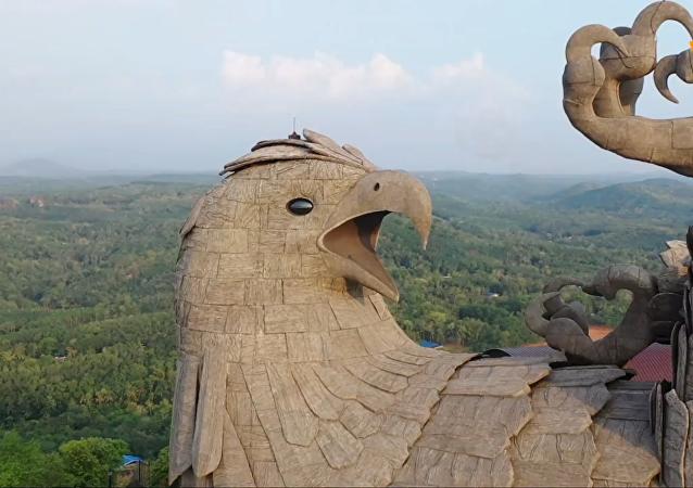 世界上最大的鸟类雕像航拍