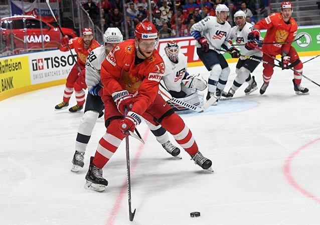 俄罗斯冰队球在四分之一决赛中战胜美国队