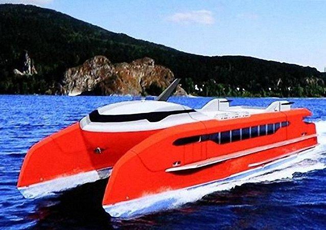 俄罗斯设计出适合在西伯利亚河道使用的高速双体船