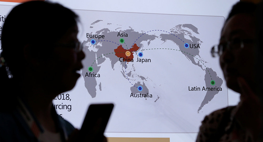 A map shows the networks of China's offshore service outsourcing cooperation at China International Fair for Trade in Services in Beijing