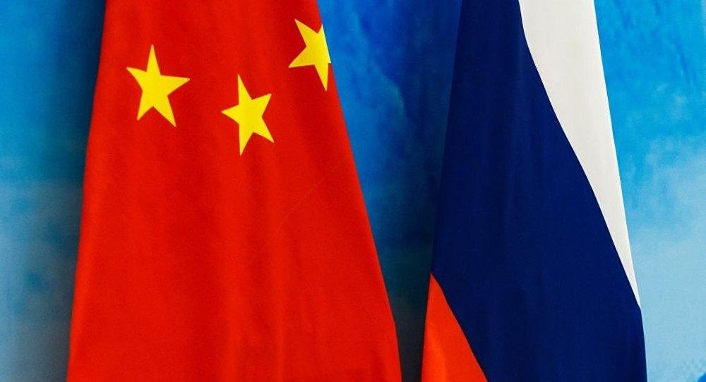 俄罗斯国旗和中国国旗