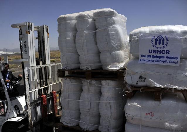 Разгрузка в аэропорту Саны гуманитарной помощи ООН