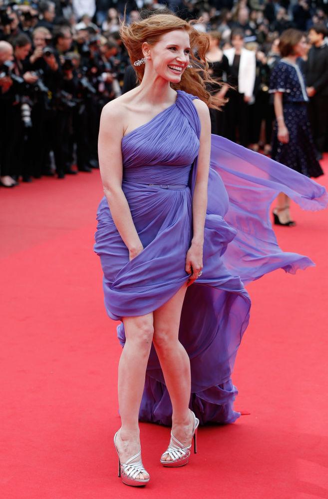 美国女演员杰西卡·查斯坦2014年现身戛纳电影节出席电影《狐狸猎手》首映礼。