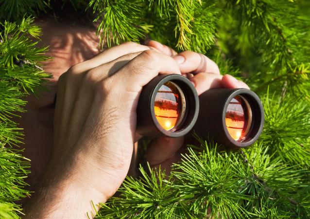 Мужчина в кустах смотрит в бинокль