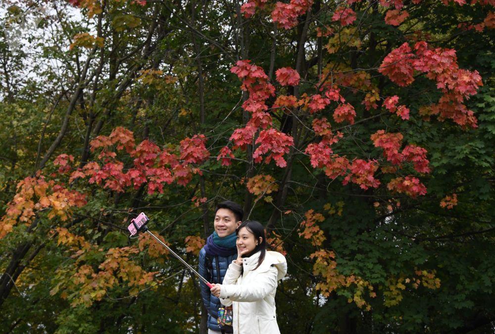 游客在科洛缅斯科耶自然保护区博物馆拍照