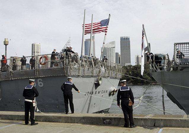台湾防务部门称一艘美舰今天航经台湾海峡