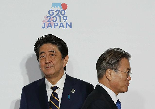 日本首相安倍晋三和韩国总统文在寅