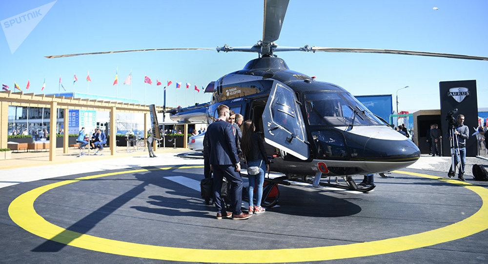 """拥有""""Aurus""""座舱的""""Ansat""""直升机亮相莫斯科航空展"""