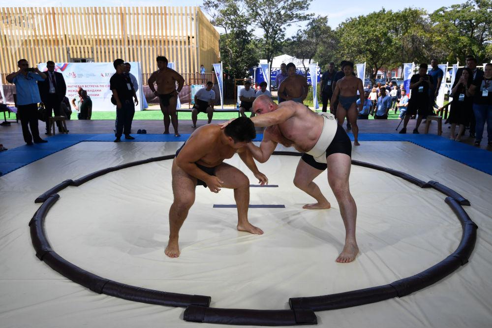 相扑选手在阿亚克斯海湾旁举行的第五届东方经济论坛远东街头展览上进行示范表演。