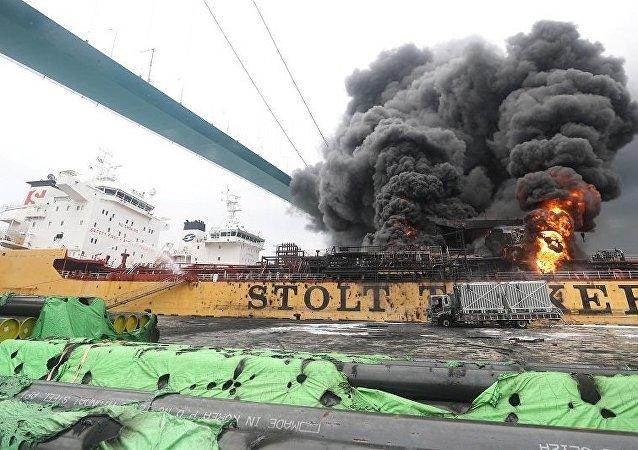 俄使馆:蔚山港货轮火灾船上10名俄公民均已疏散未受伤