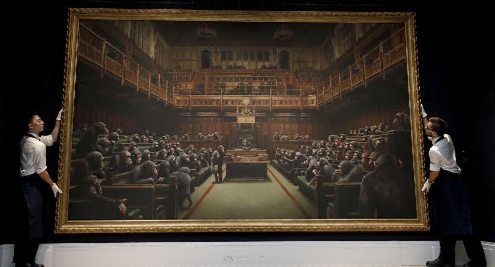 嘲笑英议会的班克斯画作以1200万美元破纪录价格被拍卖