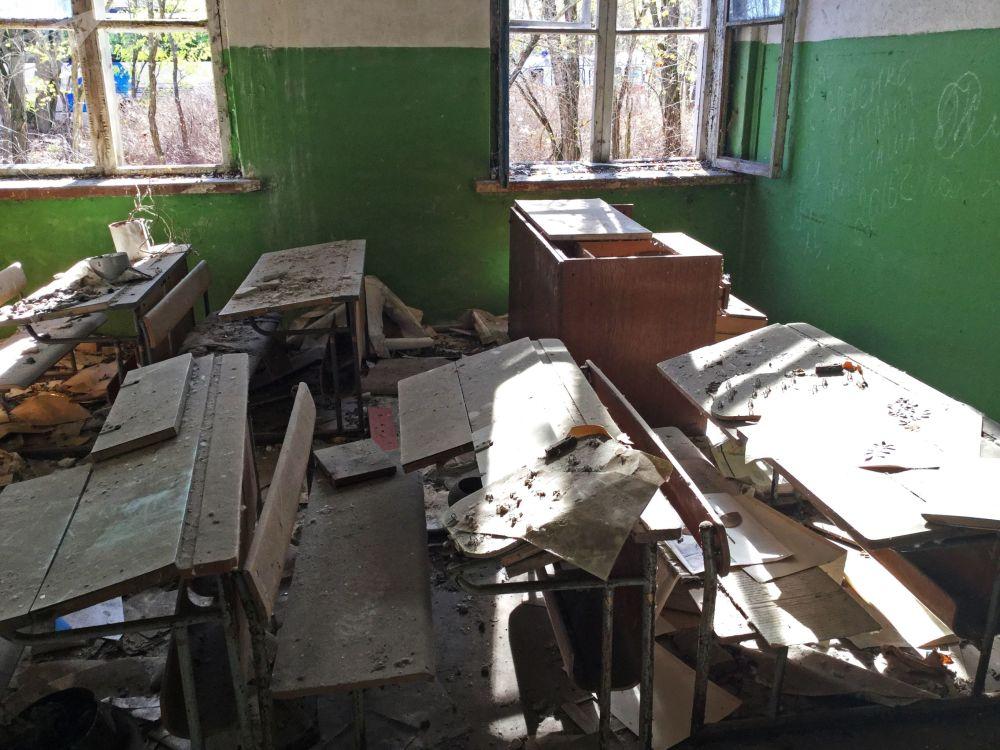 波列斯基辐射生态保护区内废弃的学校