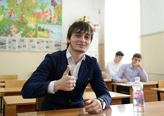 Ученики в школе №50 в Грозном.