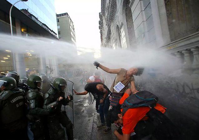 智利抗议活动 (资料图片)