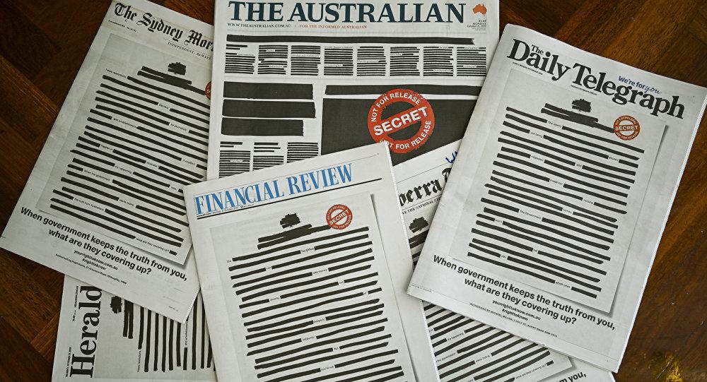 """澳大利亚多家报纸""""涂黑""""头版以示抗议"""