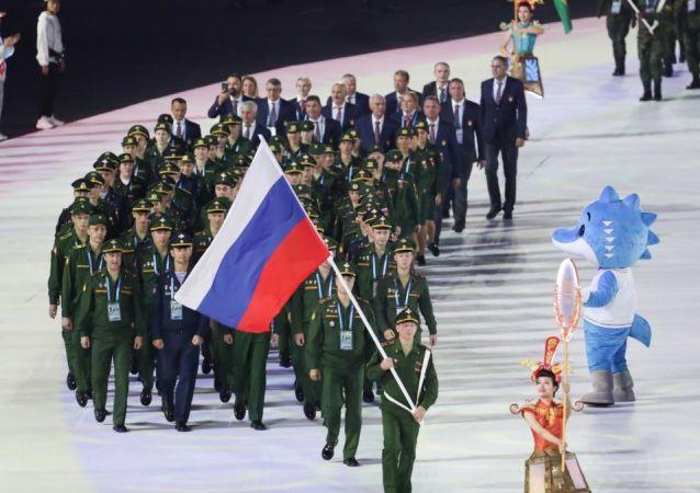 俄罗斯队目前在第七届世界军人运动会上获奖牌129枚 位居奖牌榜第二