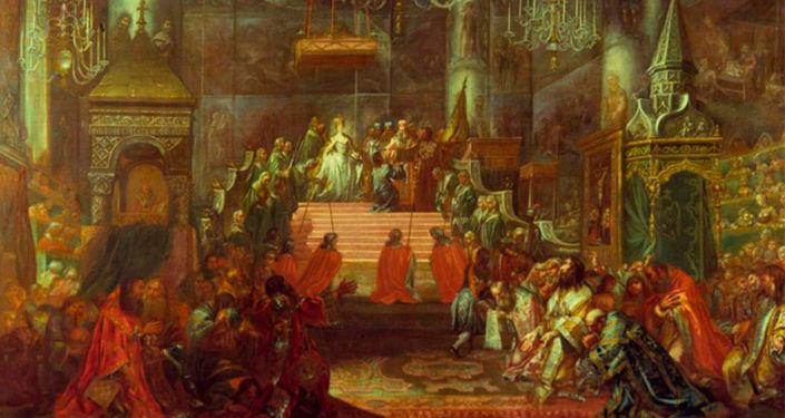 画作《叶卡捷琳娜二世在克里姆林宫圣母升天大教堂内加冕》, 18世纪下半叶