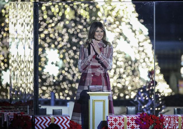 特朗普携梅拉尼娅点亮白宫圣诞树