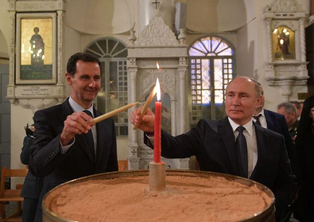 普京与阿萨德参观了大马士革的圣玛丽亚教堂