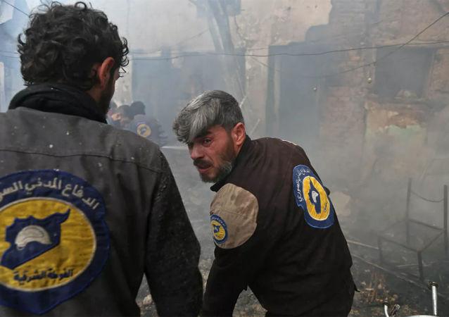 """""""白头盔""""组织成员在叙利亚(资料图片)"""