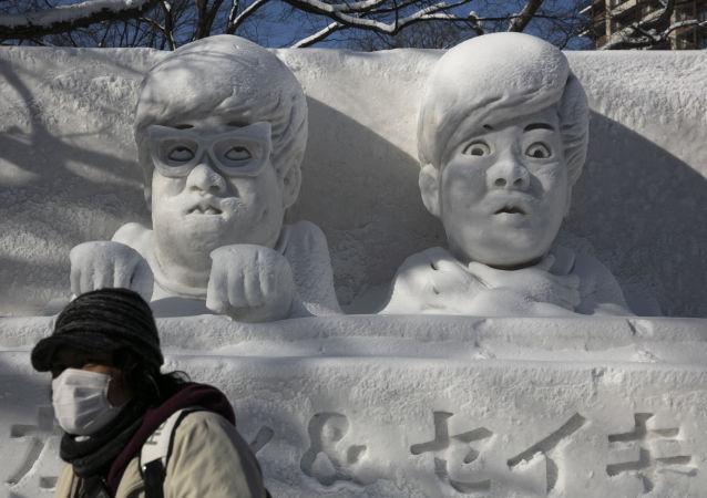 日本札幌冰雪节上的雪雕