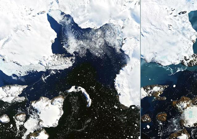 美国国家航空航天局展示南极冰川融化的程度