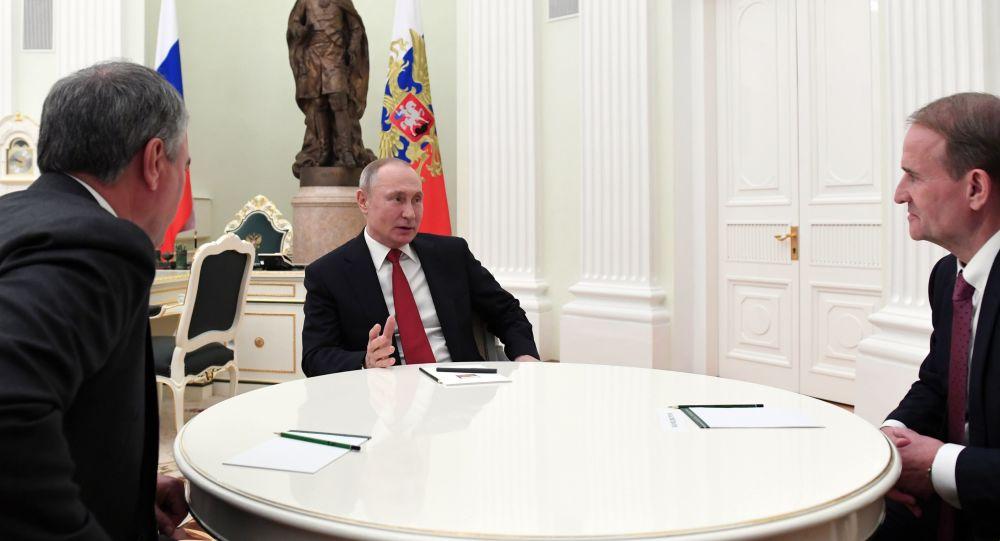 """普京在克宫会见俄杜马主席和乌克兰""""反对派平台-为了生活""""党主席"""