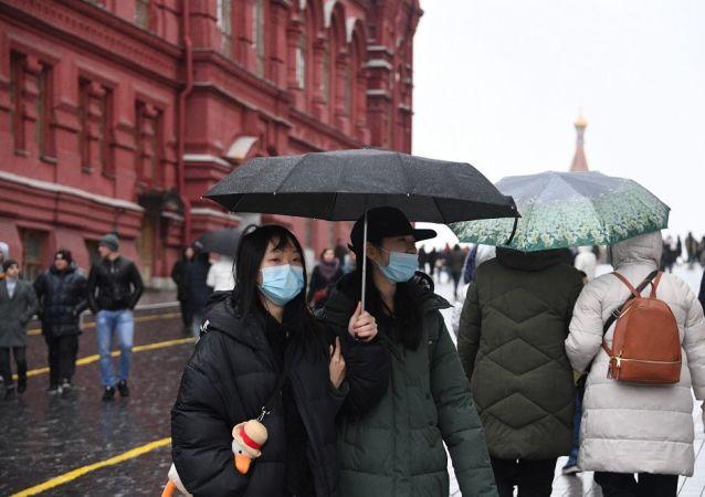 外国旅客在莫斯科