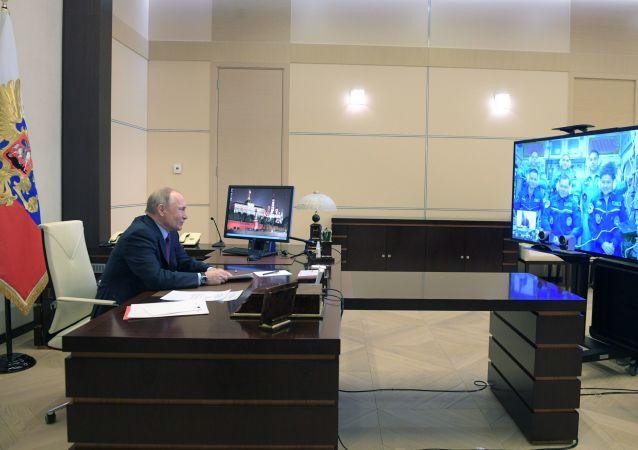 普京在国际载人航天日临近之际连线国际空间站宇航员