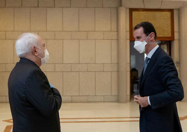 叙利亚总统阿萨德与伊朗外长扎里夫