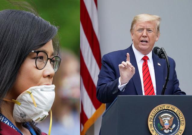 """""""去问中国"""":特朗普在与记者发生口角后中断记者招待会"""