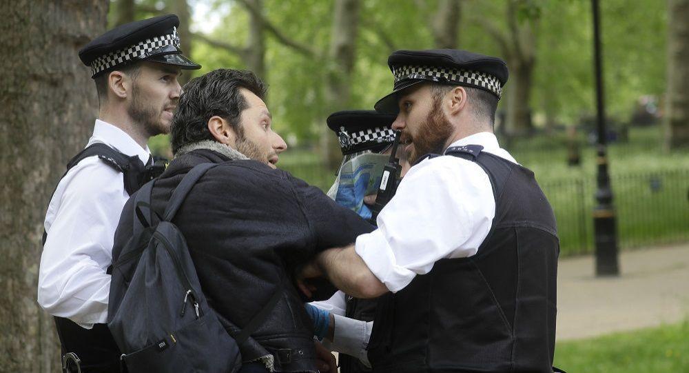 示威者被警察抓住(伦敦海德公园,资料图片)