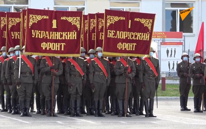 莫斯科举行胜利日阅兵式徒步方队彩排